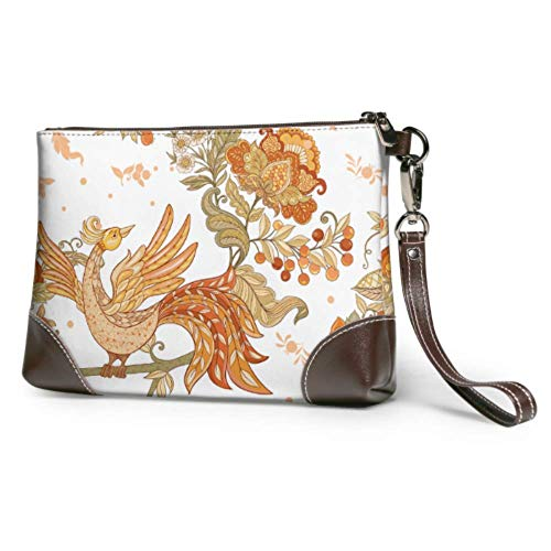 Wristlet Handbag Fantasy Floral Jacobean Embroidery Leather Wristlet Clutch Wallet For Women Womens Leather Wallet Smartphone Wristlet Purse