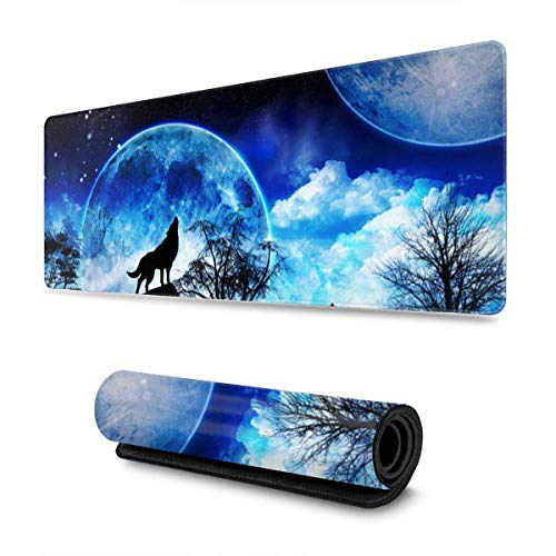 Beautiful Starry Wolves XXL XL Large Gaming Mouse Pad Mat Long Extended Mousepad Desk Pad Non-Slip Rubber Mice Pads Stitched Edges 31.5x11.8x0.12 Inch