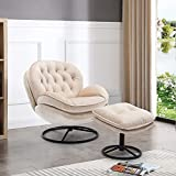 Velvet Swivel Accent Chair with Ottoman Set, Modern Lounge Chair with Footrest, Comfy Armchair with 360 Degree Swiveling for Living Room, Bedroom, Reading Room, Home Office, Metal Base Frame (Beige)
