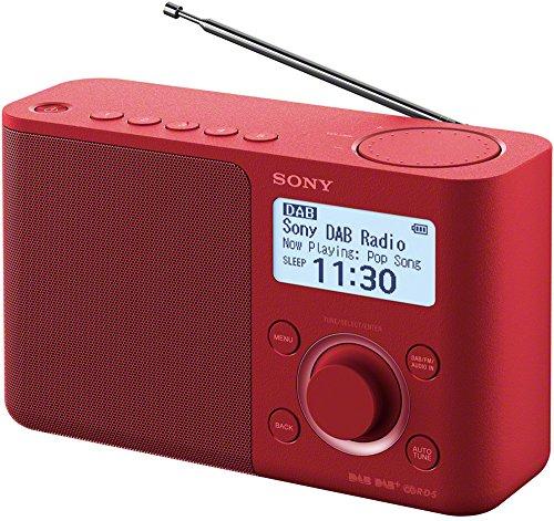 Sony XDR-S61D draagbare digitale radio, FM/DAB/DAB+, zendergeheugen, RDS-functie, wekker, batterij- en voeding, rood