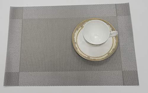Sunlisky Set de Table en PVC épaissi (6 pièces), Imitation Lin, Multifonction, Isolation Thermique, Tapis de Table, Tapis de Table, antidérapant, Facile à Nettoyer (Grise)