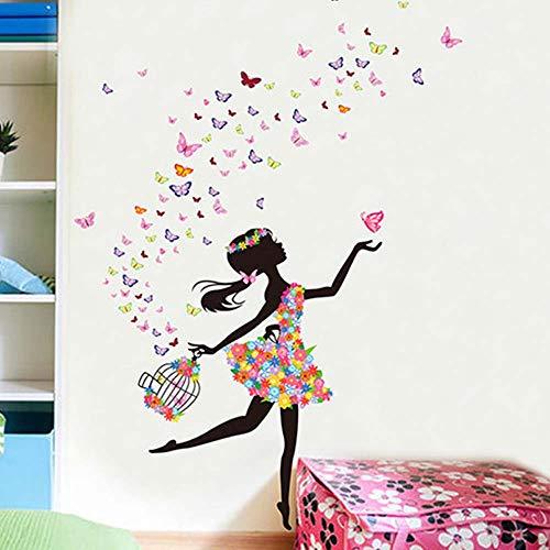 MEHOUSE Stickers Muraux Fille,Stickers Muraux enfants Fille Fleur Fée Danse Fille Variété Salon Chambre Fond Mur Romantique Chaud Fleur elf Verre Décoratif Mur Autocollant 60 * 90cm