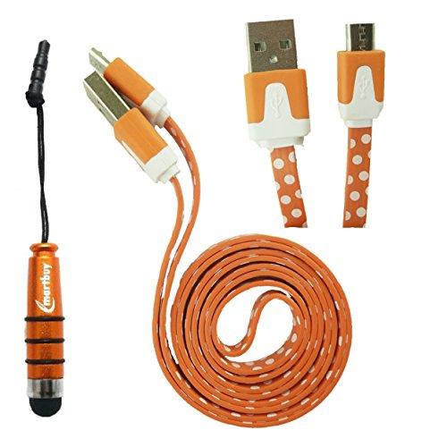 emartbuy Polka Dots Range Duo Packfür iRULU eXpro X1 Pro/iRULU Walknbook 2/iRULU eXpro X1 Plus Tablet PC - Orange Mini Stylus +Polka Dots Orange/Weiß Flaches Knotenfreies Micro USB Kabel