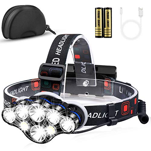 Headlamp, MOICO High Lumens Brightest 8 LED Headlight Flashlight with White Red Lights, USB Rechargeable Waterproof Head Lamp, 8 Modes for Outdoor Camping Cycling Running Fishing