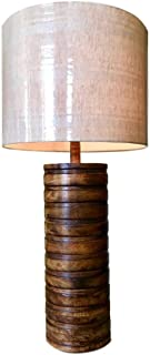 Kauri Large Wooden Table Lamp with Off-White Linen Striped Shade Design