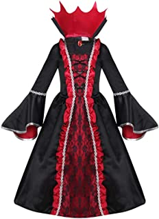 Vampire Costume for Girls, Noble Medieval Queen Halloween Dress up