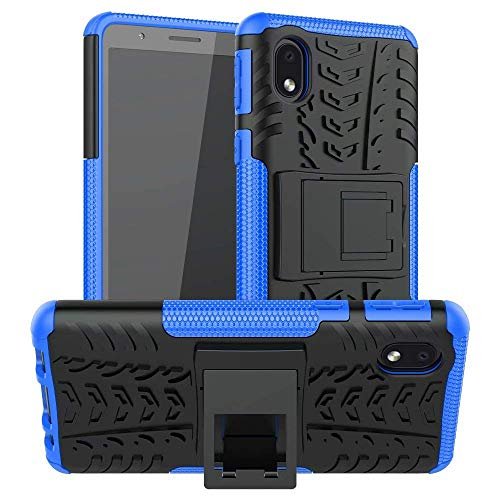 Prime Retail Shockproof Hybrid Kickstand Back Case Defender Cover for Samsung Galaxy M01 Core - Blue