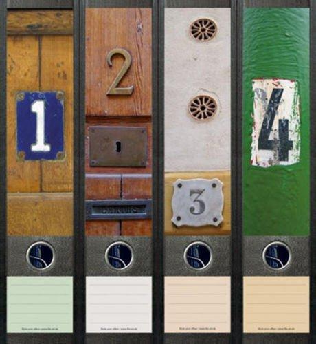 Ordnerrücken breit Juego de 4 pegatinas decorativas para puertas, números de casa, pegatinas decorativas 058