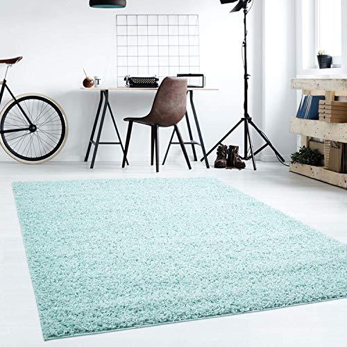 Hochflor Teppich | Shaggy Teppich fürs Wohnzimmer Modern & Flauschig | Läufer für Schlafzimmer, Esszimmer, Flur und Kinderzimmer | Langflor Carpet Soft Türkis 120x170 cm