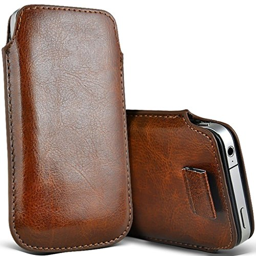 I-Sonite (Brown) Premium Slip In Pull Tab Sleeve Faux Leather Pouch Case Cover For Motorola Moto G7 Play [XXL]