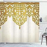 ABAKUHAUS Antiguo Cortina de Baño, Arte Barroco Medieval, Material Resistente al Agua Durable Estampa Digital, 175 x 180 cm, Brown pálido Crema