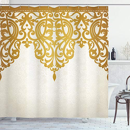 """Ambesonne Antique Shower Curtain, Victorian Style Medieval Motifs with Classic Baroque Oriental Shapes Print, Cloth Fabric Bathroom Decor Set with Hooks, 75"""" Long, Brown Cream"""