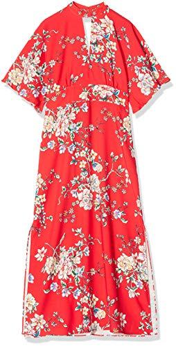 Marca Amazon - TRUTH & FABLE Vestido Mujer Estampado, Multicolor (Red), 36, Label: XS