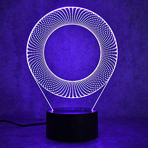 3D Ilusión Lámpara De Ilusión ring lámpara de escritorio creativa para cumpleaños Con carga USB, control táctil de cambio de color colorido