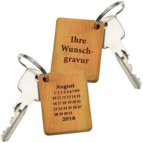 Schlüsselanhänger Holz Schönster Tag (mit Wunschtext): Schlüsselring mit Gravur für die Freundin – personalisiert mit Wunschdatum als Kalenderblatt und Wunschgravur – Geschenk zum Valentinstag