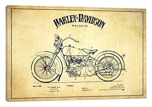"iCanvasART Harley-Davidson Vintage Patent Blueprint Canvas Print, 26"" x 18"""