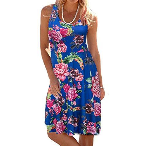 TIFIY Sommerkleid Damen,Elegante Ärmelloser O-Hals Maxi Tank Dress drucken Lässiges Blumenmuster Strand Partykleider(Pink,XXL