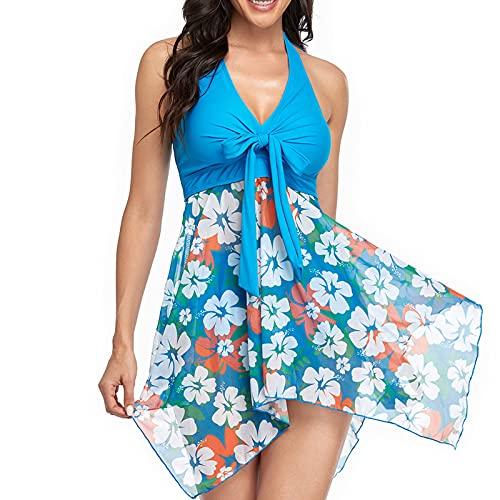 Bikini Mujer Cuello Halter con Costura de Gasa de Dos Piezas Ropa de Baño con Estampado Traje de Baño Mujer de Cuello en V Bañadores sin Espalda Conjunto de Bikini Atractivo y Elegante