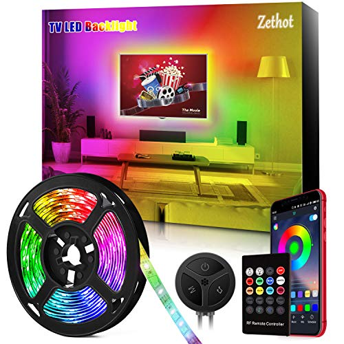 Tira LED TV de 11.5 pies(3.5M), sincronización de control Bluetooth TV de 40-65 pulgadas con música, Kit de luces LED de TV con mando a distancia, alimentación por USB.