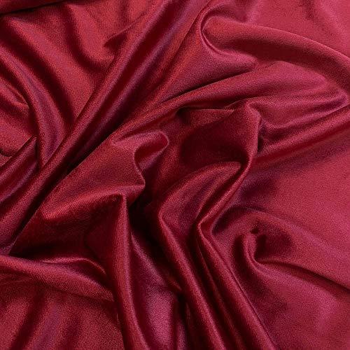 Kt KILOtela Tela de Terciopelo Liso - Tacto Suave, Resistente, Mucha caída, Cortinas, tapicería, tapizar sillas, Ropa Vestir - Retal de 100 cm Largo x 280 cm Alto | Granate