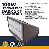 100W LED Wall Pack Light- Replaces 300W MH/HPS Fixture, 13190 Lumens, 5000K Cool White, Waterproof IP65 - DLC, UL, cUL Certified, 5 Years Warranty, Full Cutoff Wall Pack Fixture