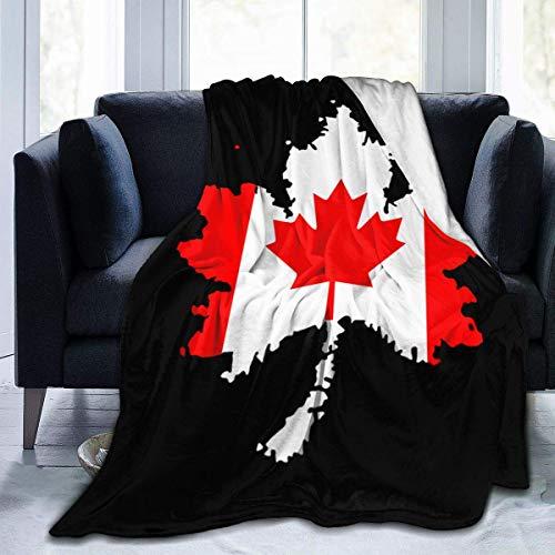 XXUU Bandera de Canadá Manta de vellón de Hoja de Arce Canadiense Manta Ligera Súper Suave y acogedora Cama Manta cálida para Sala de Estar/Dormitorio Toda la Temporada