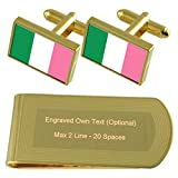 Select Gifts Terranova (Bandera Tradicional) Bandera Oro-Tono Gemelos Money Clip Grabado Set de Regalo
