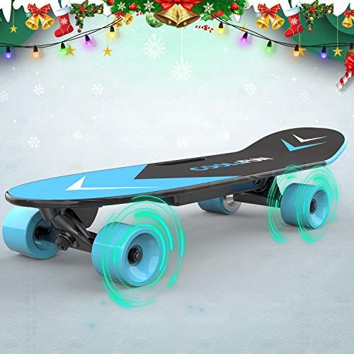 Elektrisches Skateboard mit ferngesteuertem Longboard für Kinder und Erwachsene, 150-W-Motor, zwei Geschwindigkeitsmodi, tragbare E-Skateboard-Kick-Skateboard-Geschenke für Kinder (blue)