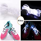 JERN Cool Fashion Light up LED Shoelaces Flash Party Skating Glowing Shoe Laces for Boys Girls Fashion Self Luminous Shoe Strings (White)