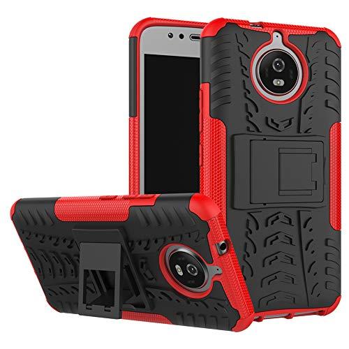 LiuShan Moto G5S Funda, Heavy Duty Silicona Híbrida Rugged Armor Soporte Cáscara de Cubierta Protectora de Doble Capa Caso para Motorola Moto G5S Smartphone,Rojo