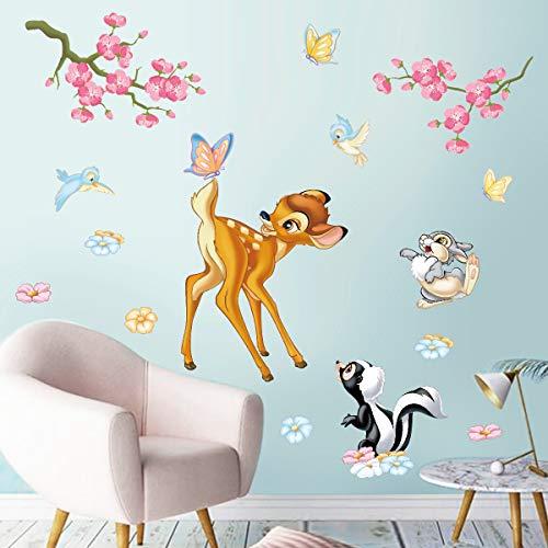 decalmile Wandtattoo Waldtiere Wandaufkleber Hirsch Eichhörnchen Blumen Wandsticker Kinderzimmer Babyzimmer Schlafzimmer Wanddeko