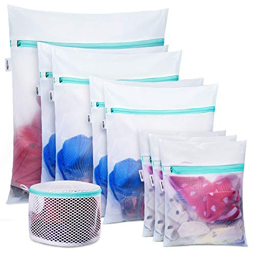 Plusmart 9 Pack Laundry Bag Including 8 Pack Mesh Laundry Bag for Delicetes 1Pack Bra Wash Lingerie BagsA to E Cup for Washing MachinesWasher