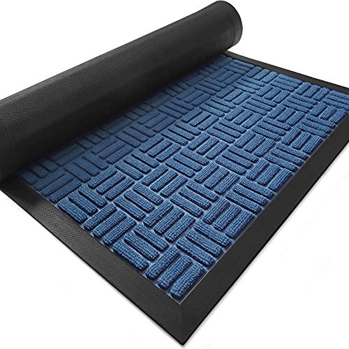 DEXI Door Mat Front Indoor Outdoor Doormat,Small Heavy Duty Rubber Outside Floor Rug for Entryway Patio Patio Waterproof Low-Profile,23 x35 ,Navy Blue