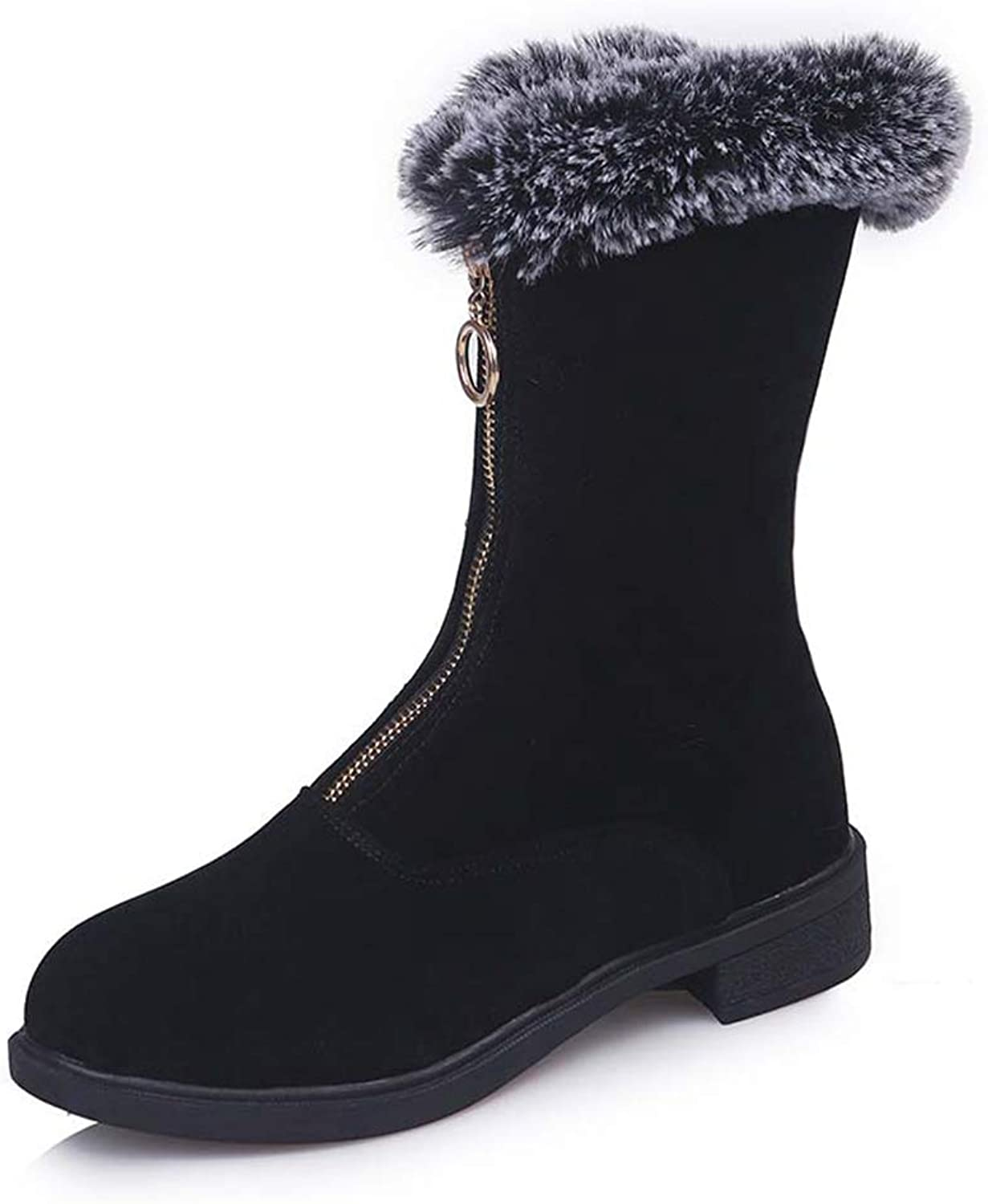 Zarbrina Womens Fur Lined Low Platform Mid Calf Ankle Boots Fashion Round Toe Rubber Sole Slip On Zipper Short Plush Winter Warm Snow shoes