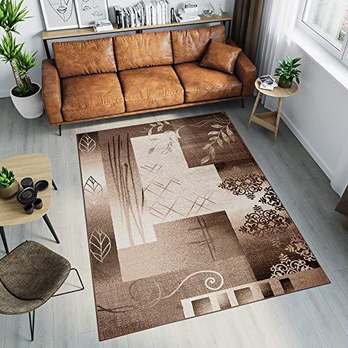 Tapiso Tango Teppich Modern Kurzflor Hellbraun Creme Floral Ornament Viereck Streifen Muster...