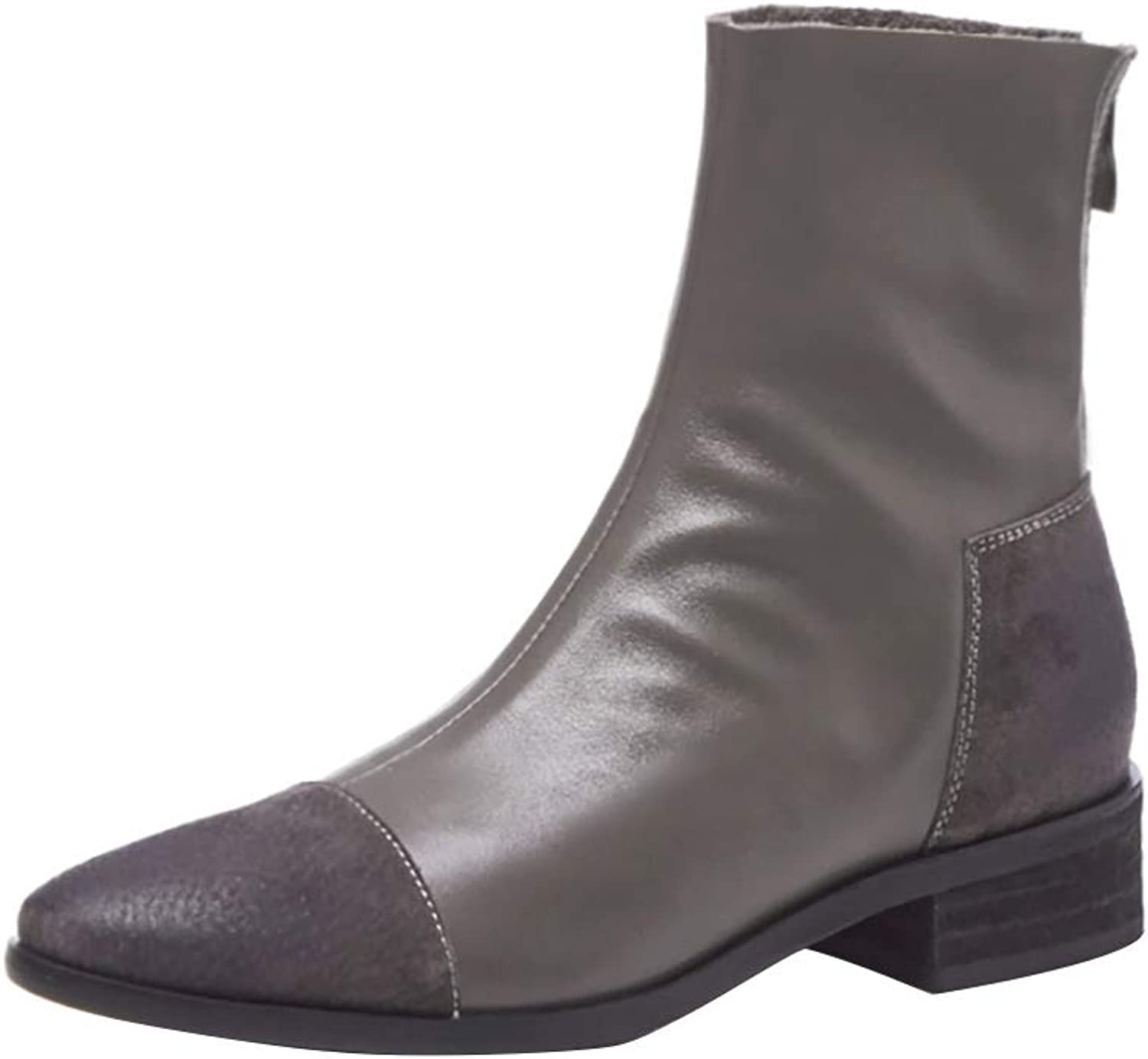 MAYPIE Womens Toalone Leather Zipper Ankle Boots