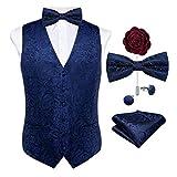 Dibangu, gilet da uomo con motivo cachemire e cravatta, papillon con tasca quadrata e gemelli, set per smoking Blu S
