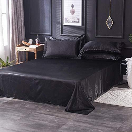 EKL - Set di lenzuola in raso per adulti in tinta unita con coprimaterasso in seta, per letto queen size e king size, Nero , 180cm*230cm