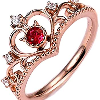 MERSDW Deal Rings Fashion New Lady Love Crown Red Rhinestone Rose Gold Opening Adjustable Rings Vintage Jewelry Diamond Rings Korean Jewelry Creative Wedding Jewelry Gift  Rose Gold