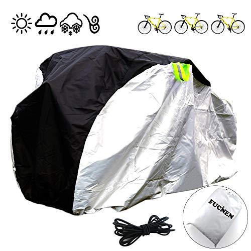 FUCNEN - Funda grande para bicicleta de interior y exterior, cubierta impermeable para 2 3 bicicletas, tela Oxford 210D, protección contra el polvo, la lluvia, protección UV, cubierta para triciclo