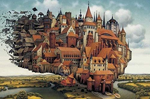 CHDBB Mini Puzzle für Erwachsene 1000 Stück ky City.Png Karton Puzzles Brain Exercise Challenge High Schwierigkeitsgrad Spiel Geschenk für Kinder Kinder 38 * 26 cm