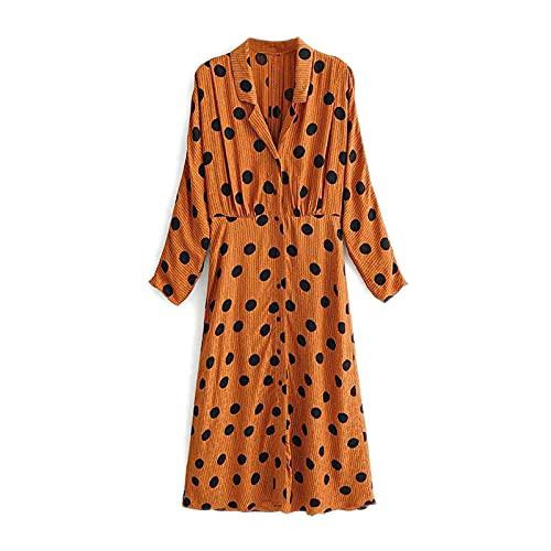 DRESSES Vestido midi de lunares para mujer con cuello de murciélago y mangas largas, estilo retro, con bordado y camisa, sexy y dividido