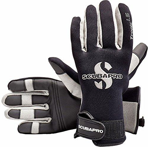 ScubaPro Tropic 1.5mm Scuba Diving Gloves (Black/White/Grey, X-Large)