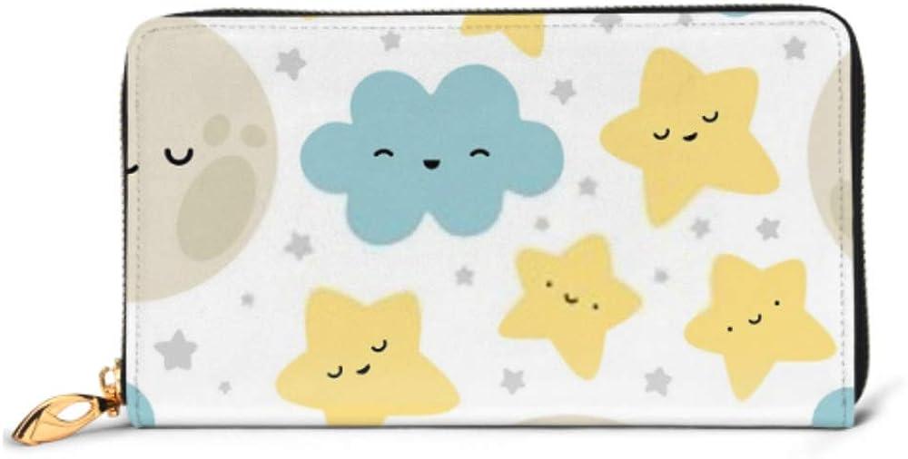 Fashion Handbag Zipper Wallet Moon Cloud Stars Cute Seamless Pattern Phone Clutch Purse Evening Clutch Blocking Leather Wallet Multi Card Organizer