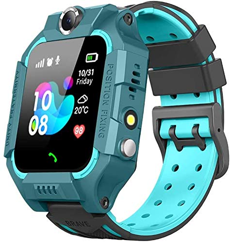 Sanyipace Kids Smart Watches for Girls Boys with GPS Tracker SOS Call Alarm Clock Camera Touch Screen Sport Intelligent Smartwatch HD Spy Safety Phone Watch Birthday Gift for over 3 Years Old (Green)
