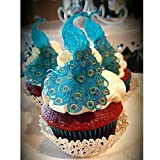 CHOCKACAKE Edible wafer teal blue peacock paper collection...