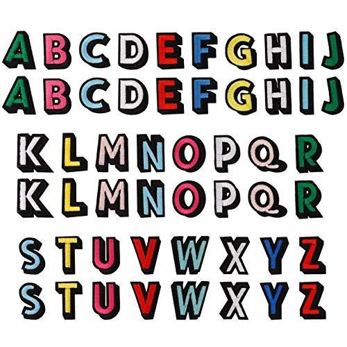 metagio 52 Stück Aufbügeln Buchstaben Kleidung Patches Aufnäher Buchstaben Patches zum Aufbügeln Applikationen Annähen Alphabet Patches Stoff Buchstaben Patches Gestickter A-Z Buchstaben für DIY