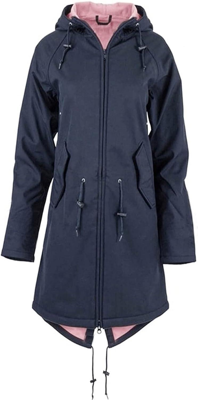 Tantisy Women Solid Color Windbreaker Popular Rain Jacket Outdoor Hoodie Waterproof Overcoat Windproof Long Cardigan