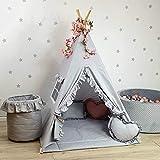 TS Tipi Teepee - Juego de 3 accesorios de tienda de campaña para niños, tienda india, cojín y manta de 5 colores (100 x 100 x 165 cm, gris)