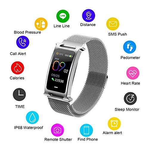 N/A Fitness Tracker Horloge, Smart Armband, Stappenteller, Slaapcyclus monitor, hartslag monitor, IP67 stof & waterdicht, Met Call Message SNS Reminder,Compatibel met Android iOS